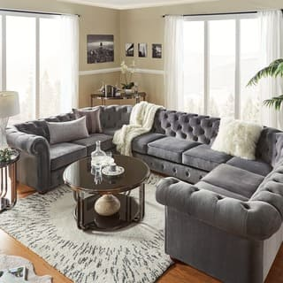 Knightsbridge Tufted Scroll Arm Chesterfield 9 Seat U Shaped Sectional By Inspire Q