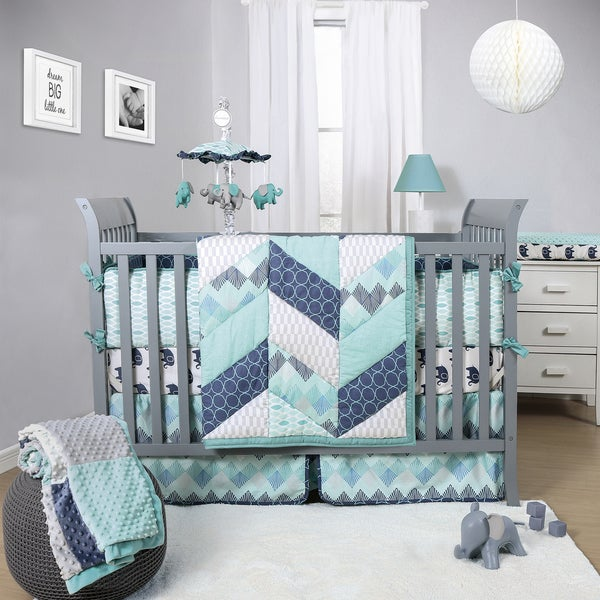The Peanut Shell Mosaic 3 Piece Boy X27 S Crib Bedding Set