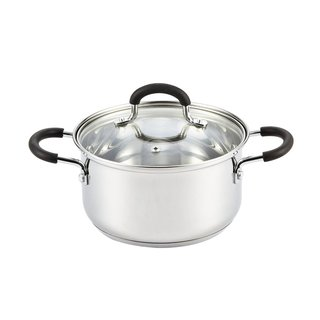 Cook N Home Silver Stainless Steel 3-quart Medium Casserole Dish with Lid