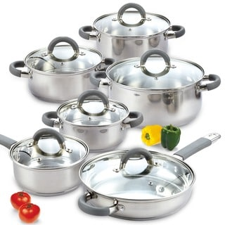 Link to Cook N Home Silvertone Stainless Steel 12-piece Cookware Set Similar Items in Kitchen Storage