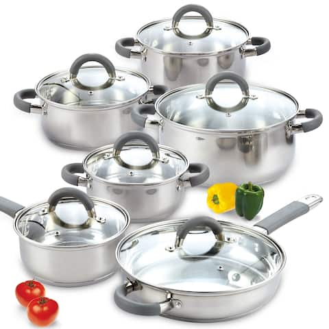 Cook N Home Silvertone Stainless Steel 12-piece Cookware Set