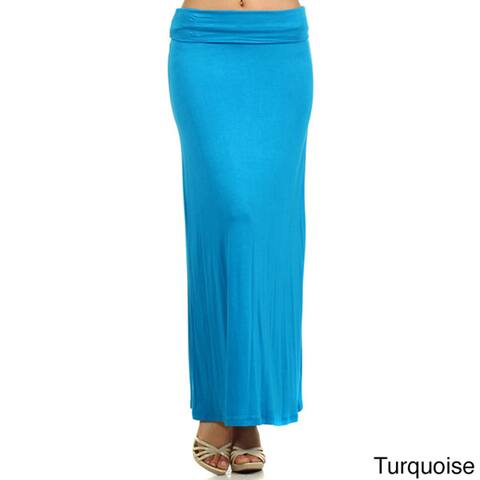 MOA Collection Women's Solid Maxi Skirt