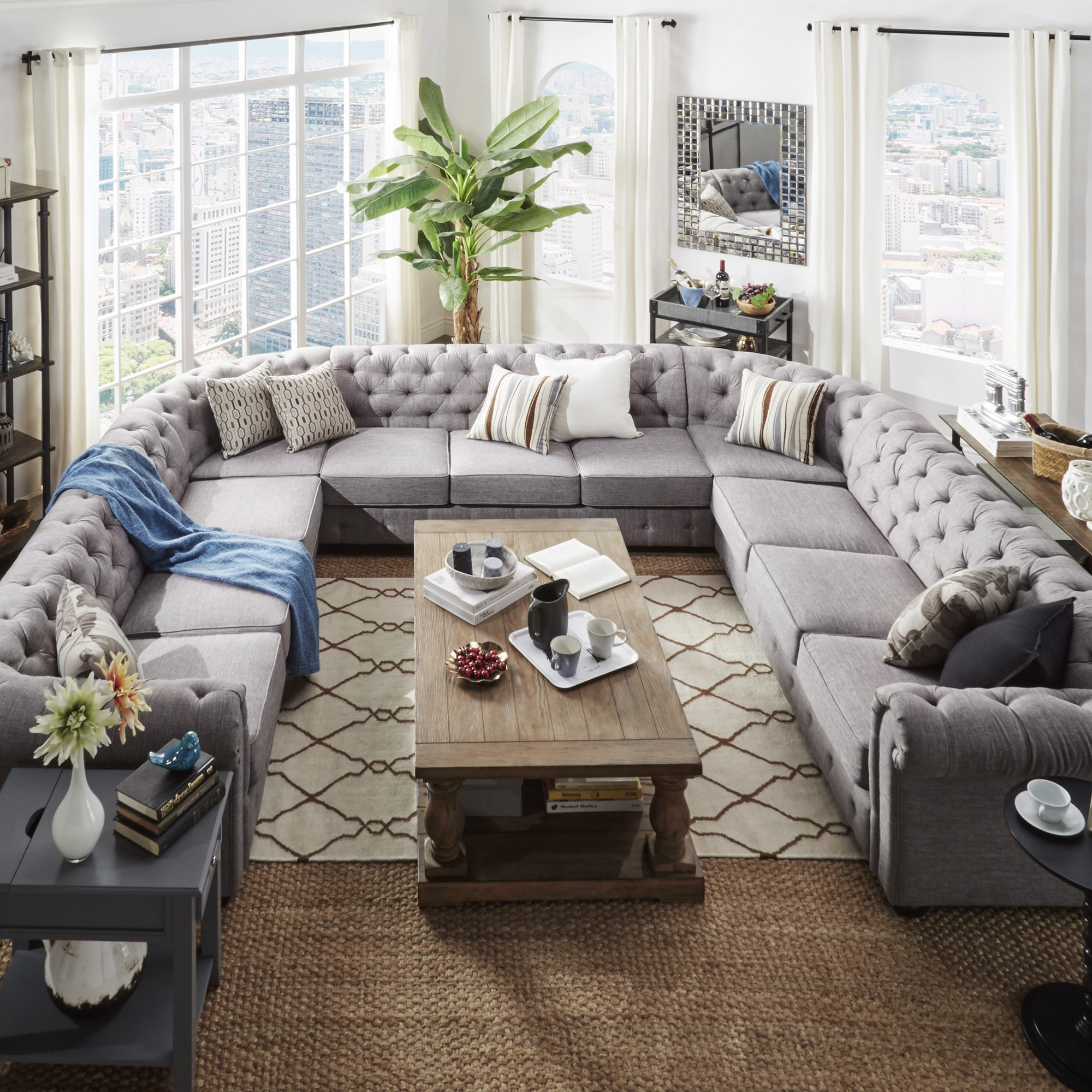 Knightsbridge Tufted Scroll Arm Chesterfield 11 Seat U Shaped Sectional By Inspire Q