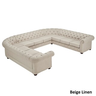 Knightsbridge Tufted Scroll Arm Chesterfield 11-seat U-shaped Sectional by iNSPIRE Q Artisan
