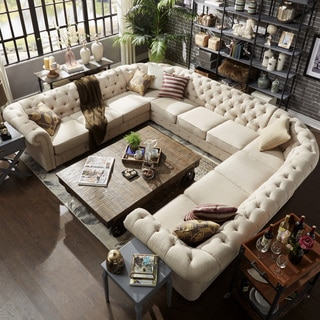 living room furniture sectional sets. Knightsbridge Tufted Scroll Arm Chesterfield 11-seat U-shaped Sectional By INSPIRE Q Artisan Living Room Furniture Sets
