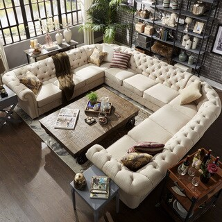 Knightsbridge Tufted Scroll Arm Chesterfield 11-seat U-shaped Sectional by iNSPIRE Q Artisan (4 options available)