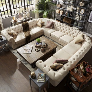 Knightsbridge Tufted Scroll Arm Chesterfield 11 Seat U Shaped Sectional By  INSPIRE Q Artisan