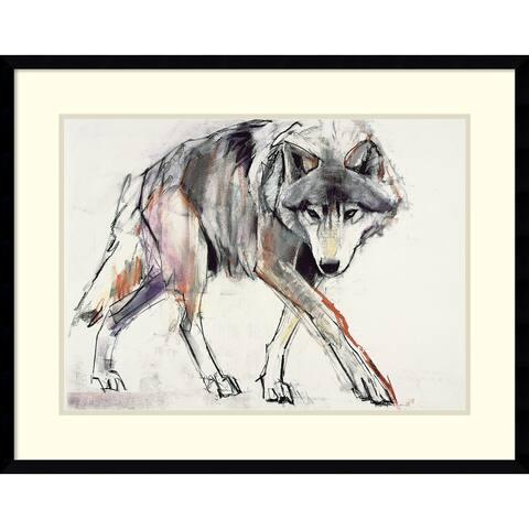 Framed Art Print 'Wolf' by Mark Adlington 29 x 23-inch