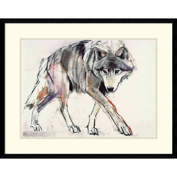 Framed Art Print 'Wolf' by Mark Adlington 29 x 23 inch. Opens flyout.