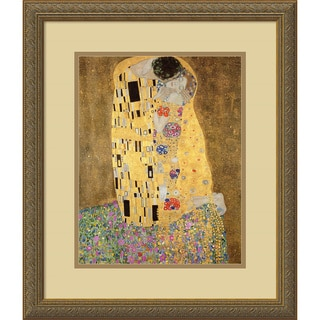 Gustav Klimt 'The Kiss, 1907-08 (detail ii)' Framed Art Print 18 x 21-inch