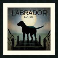 Framed Art Print 'Moonrise Black Dog - Labrador Lake' by Ryan Fowler 24 x 24-inch