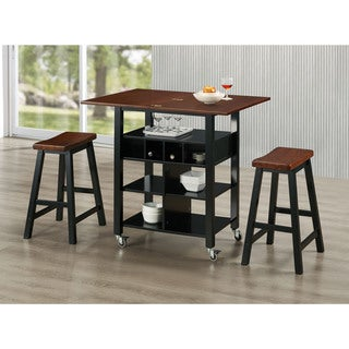 Gracewood Hollow Owen 3 Piece Kitchen Island Set With 2 Stools