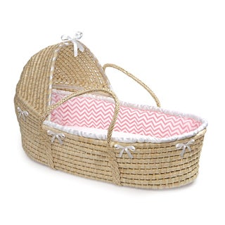 Badger Basket Natural Hooded Moses Pink Chevron Bedding Basket