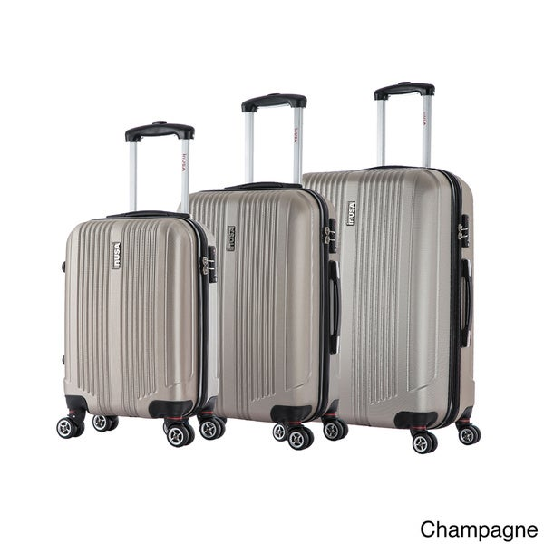 Champagne Chariot Crystal 3-Piece Expandable Lightweight Spinner Luggage Set