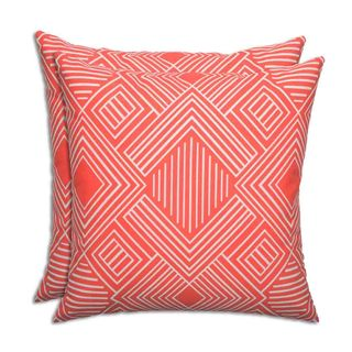 Phase Indian Coral Outdoor 17-inch KE Fiber Throw Pillow - Set of 2
