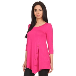 MOA Collection Women's Hot Pink Button Trim Top