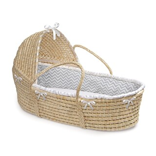 Badger Basket Natural Hooded Moses Basket Grey Chevron Bedding