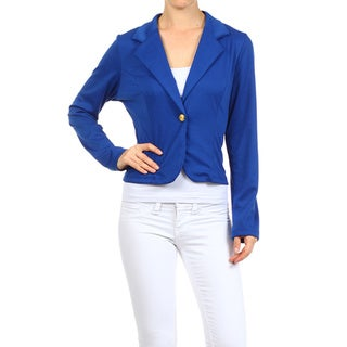 MOA Collection Women's Solid 1-Button Cropped Blazer