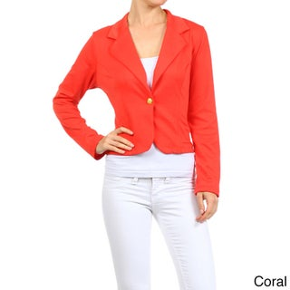 MOA Collection Women's Solid 1-Button Cropped Blazer (More options available)