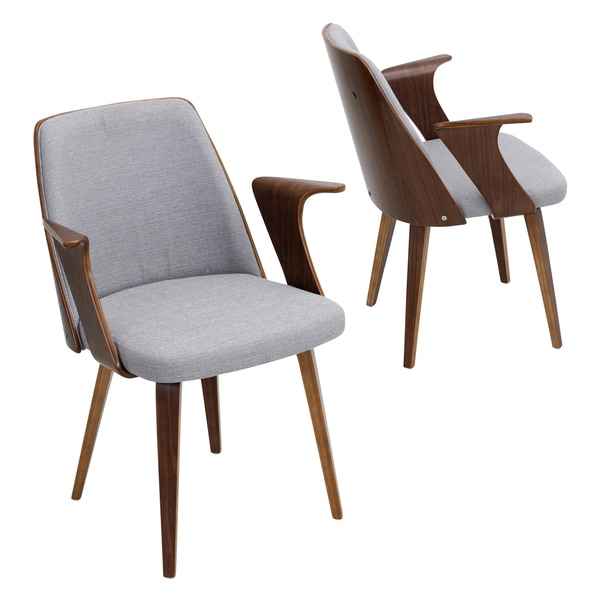 Verdana Mid Century Modern Dining/Accent Chair In Walnut Wood And Fabric