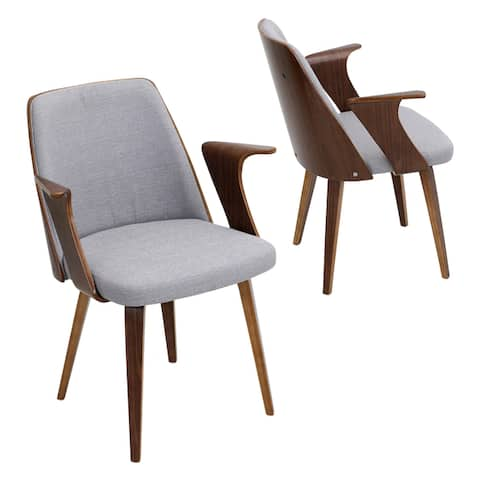 Verdana Mid-Century Modern Dining/Accent Chair in Walnut Wood and Fabric