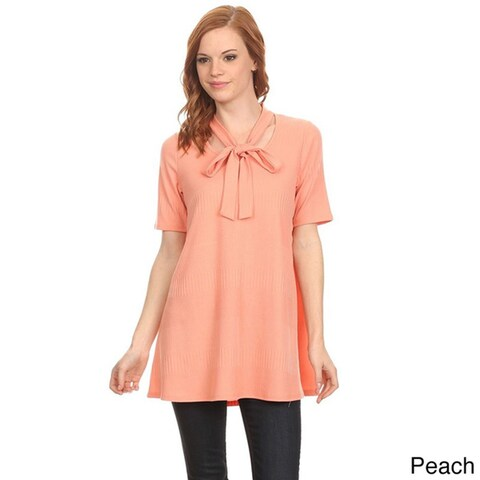 MOA Collection Women's Neck Tie Detail Top