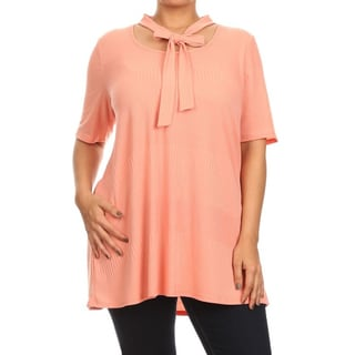 MOA Collection Plus Women's Neck Tie Detail Top