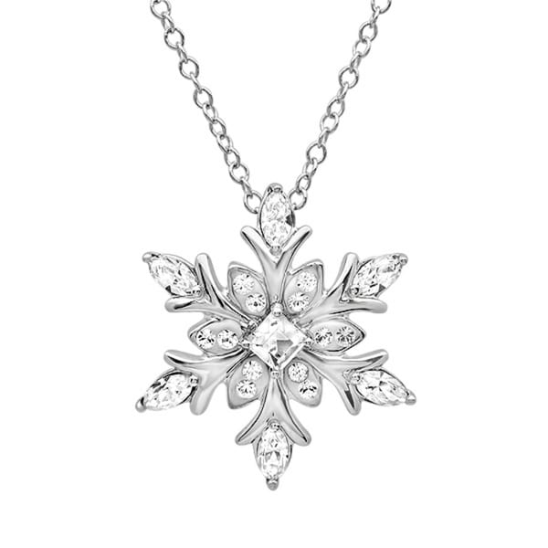 Sterling Silver Snowflake Pendant Necklace with Austrian Crystals