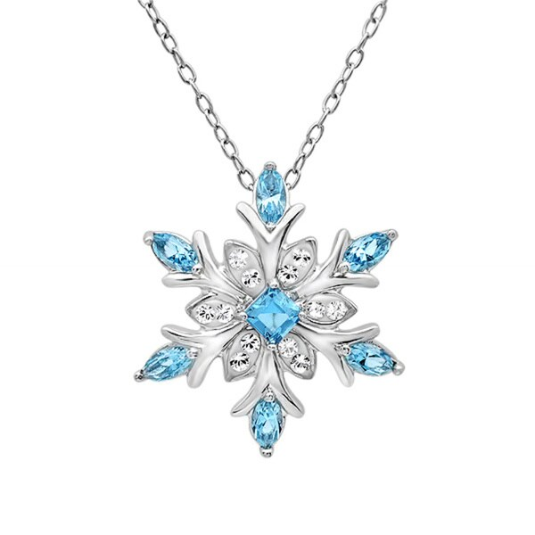 Amanda Rose Sterling Silver Snowflake Pendant-Necklace with Blue and White Swarovski Crystals