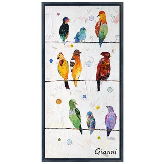 Wired Birds B' Original Handmade Paper Collage Signed by Gianni Framed Graphic Art