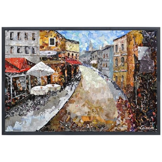 Parisian Cafe' Original Handmade Paper Collage Signed by Gianni Framed Graphic Art