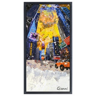 Times Square NYC B' Original Handmade Paper Collage Signed by Gianni Framed Graphic Art