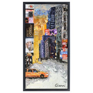 Times Square NYC A' Original Handmade Paper Collage Signed by Gianni Framed Graphic Art