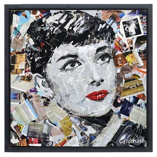 Homage to Beauty B' Original Handmade Paper Collage Signed by Gianni Framed Graphic Art