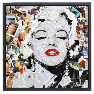 Homage to Beauty A' Original Handmade Paper Collage Signed by Gianni Framed Graphic Art