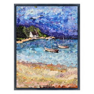 Boats on the Bay A' Original Handmade Paper Collage Signed by Gianni Framed Graphic Art