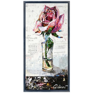 Pink Rose B' Original Handmade Paper Collage Signed by Gianni Framed Graphic Art