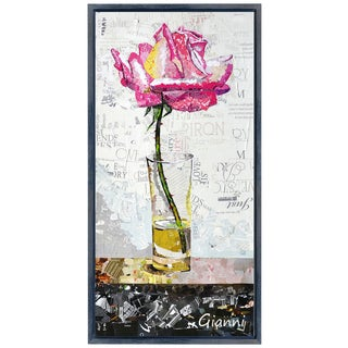 Pink Rose A' Original Handmade Paper Collage Signed by Gianni Framed Graphic Art