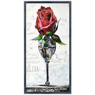 Red Rose' Original Handmade Paper Collage Signed by Gianni Framed Graphic Art