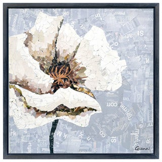 White Magnolia B' Original Handmade Paper Collage Signed by Gianni Framed Graphic Art
