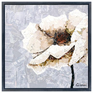 White Magnolia A' Original Handmade Paper Collage Signed by Gianni Framed Graphic Art