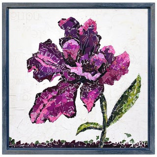Wild Rose B' Original Handmade Paper Collage Signed by Gianni Framed Graphic Art