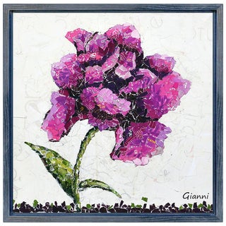 Wild Rose A' Original Handmade Paper Collage Signed by Gianni Framed Graphic Art