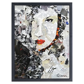 Femme Fatale B' Original Handmade Paper Collage Signed by Gianni Framed Graphic Art