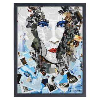 Femme Fatale A' Original Handmade Paper Collage Signed by Gianni Framed Graphic Art