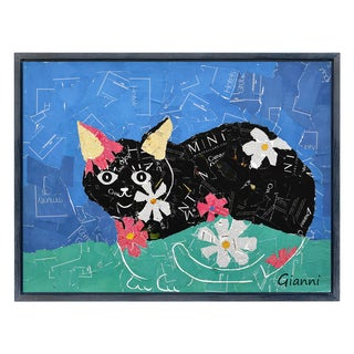 Kitty Cats B' Original Handmade Paper Collage Signed by Gianni Framed Graphic Art