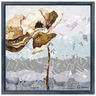 Dreamy Flower B' Original Handmade Paper Collage Signed by Gianni Framed Graphic Art