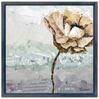 Dreamy Flower A' Original Handmade Paper Collage Signed by Gianni Framed Graphic Art