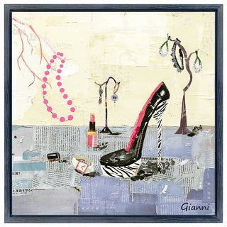 High Heeled B' Original Handmade Paper Collage Signed by Gianni Framed Graphic Art