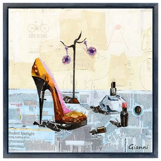 High Heeled A' Original Handmade Paper Collage Signed by Gianni Framed Graphic Art